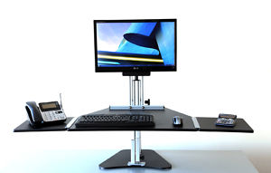 Kangaroo Sit Stand Workstation with Optional Side Extensions