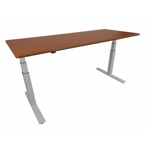 ThermoDesk Electra height-adjustable desk cherry with silver base