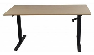 ThermoDesk Elemental Light Maple Black Base manual crank
