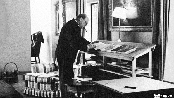 Winston Churchill Standing at Desk