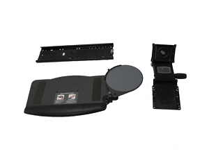 Stowaway adjustable keyboard tray components
