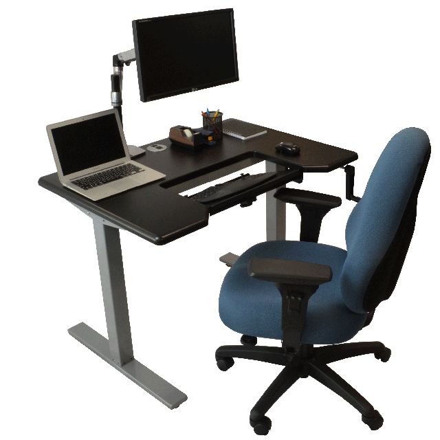 crank operated omega denali standing desk workstation