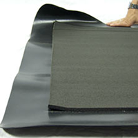 standing mat two-piece construction of rubber over sponge, lifting and separating