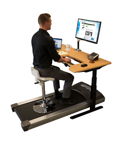 Tempo Sit-Stand Stool on a treadmill