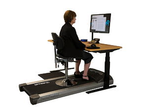 Tempo TreadTop Ergonomic Chair on a treadmill