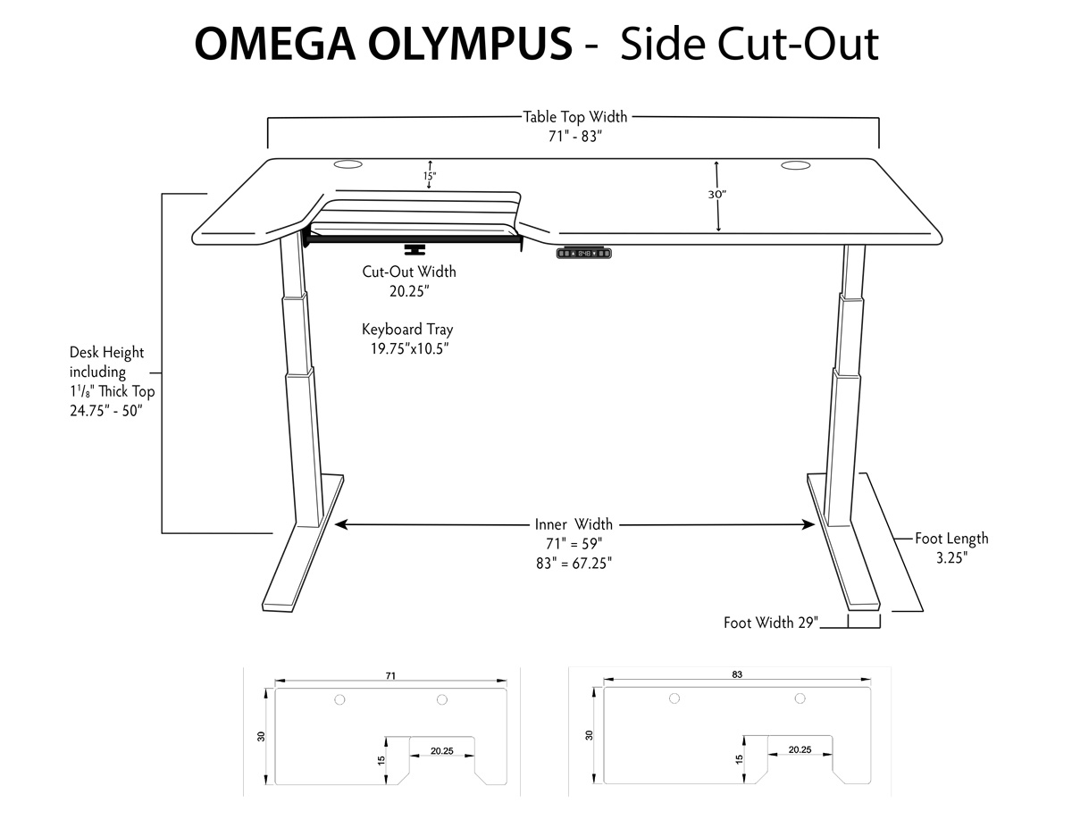 iMovR Olympus Stand up Desk Dimensions