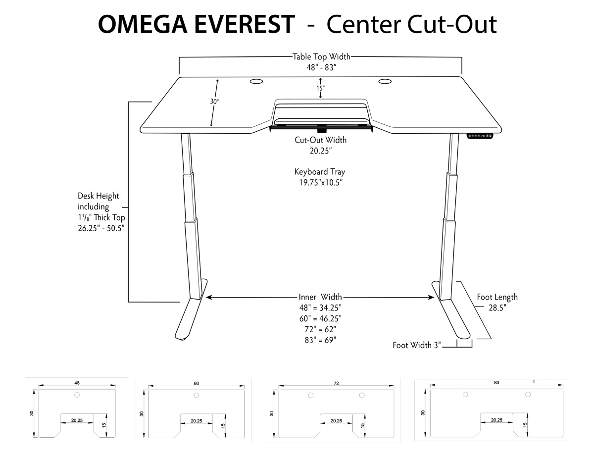iMovR Everest Sit-Stand Desk Dimensions