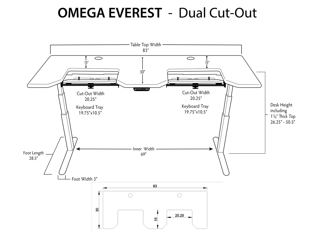 Everest Dual SteadyType Standing Desk Dimensions