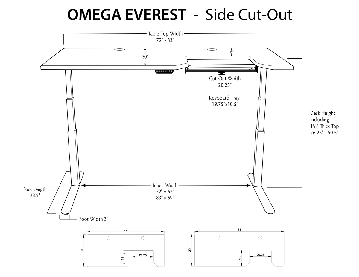 iMovR Everest Standing Left or Right Tray Dimensions