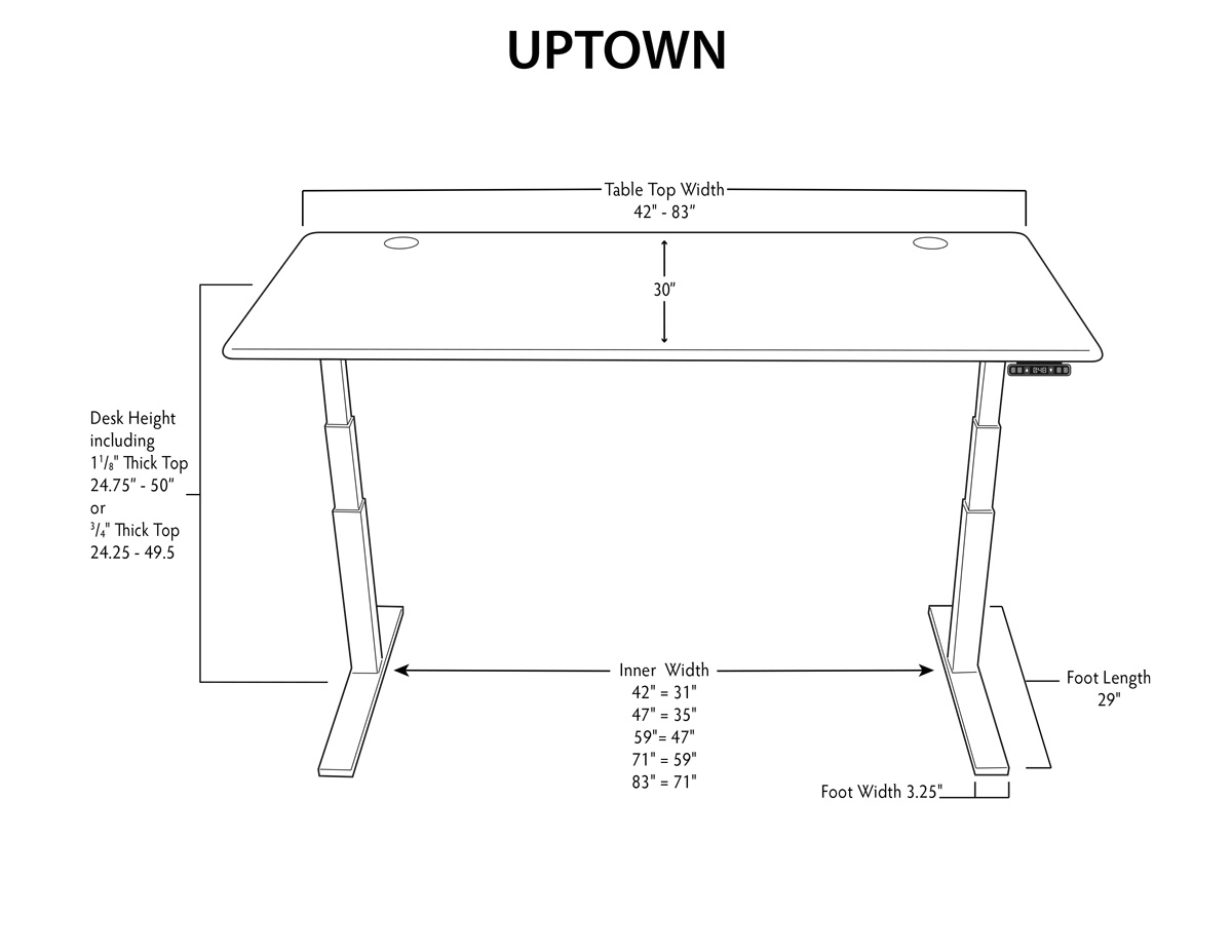 iMovR UpTown Sit-Stand Desk Dimensions