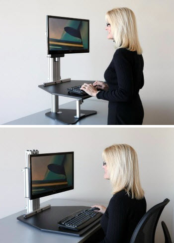 standing to cube black corner adjustable join desk waitlist attachment sit varidesk the stand desks height