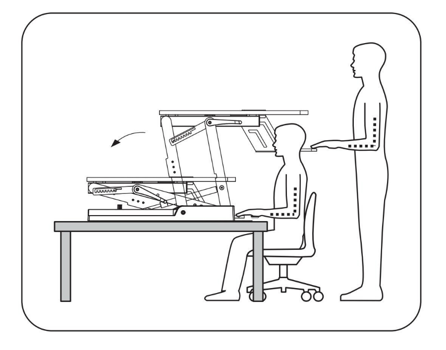 High Supply Standing Desk in use drawing