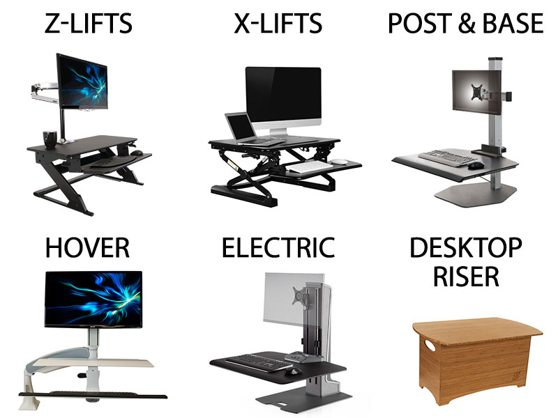 An image showing the six main types of convertible standing standing desks