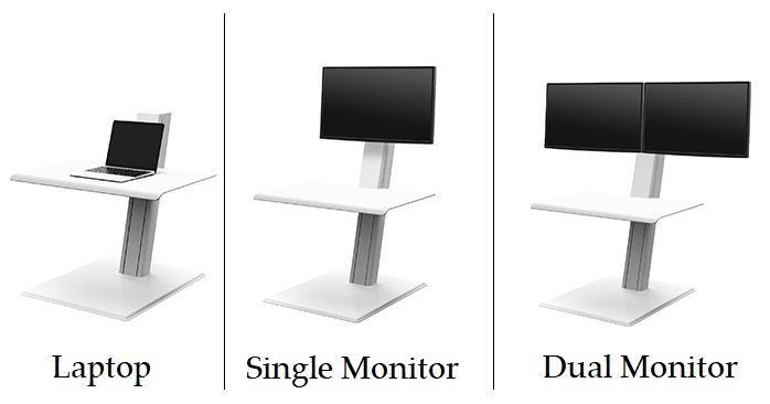 Three versions of the Humanscale QuickStand Eco