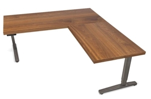 upliftdesk l-shaped standing desk in solid wood