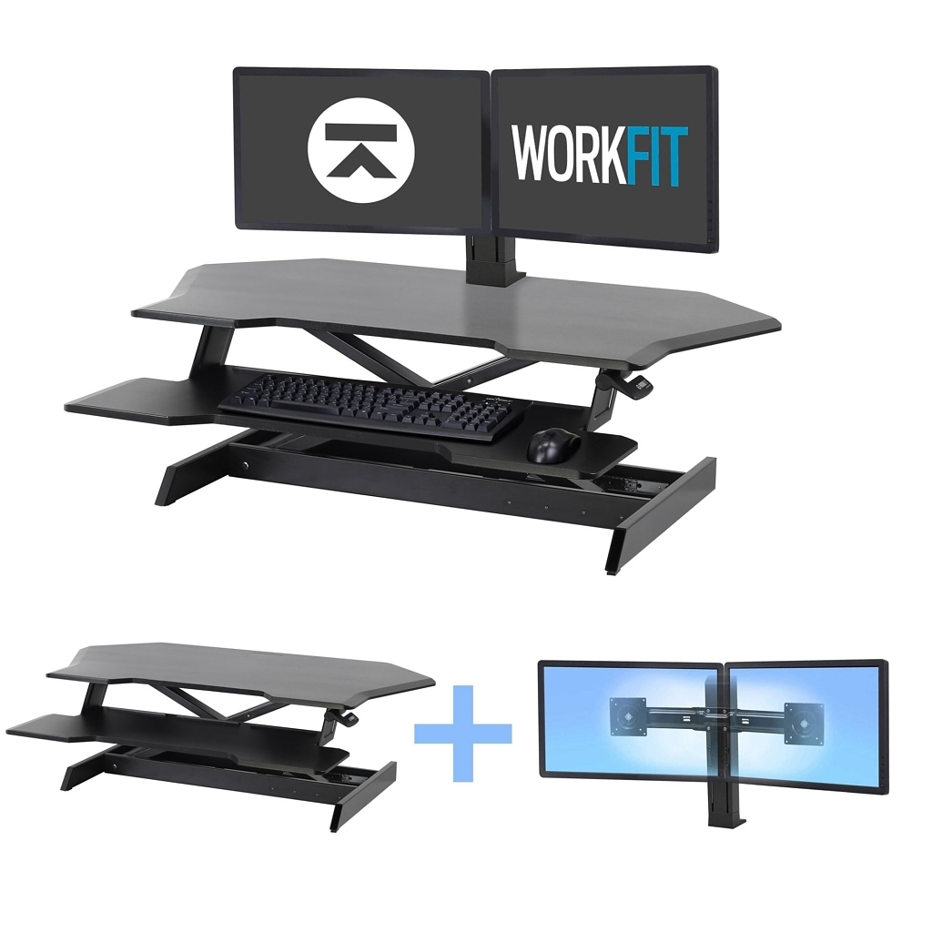 WorkFit Corner Dual Monitor Post
