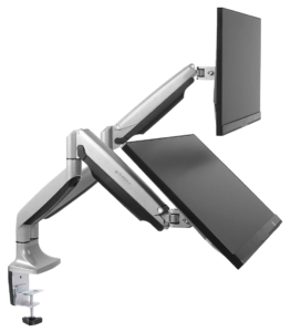 A dual monitor arm with two independent arms that attach into a hub in the edge clamp.