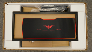 The first real glimpse inside the box shows us the oversized gaming mousepad.